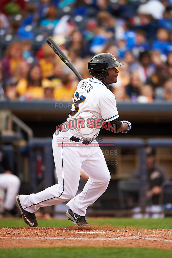 Akron RubberDucks outfielder Bryson Myles (23) at bat during a game against the New Britain Rock Cats on May 21, 2015 at Canal Park in Akron, Ohio.  Akron defeated New Britain 4-2.  (Mike Janes/Four Seam Images)