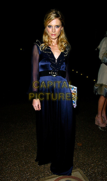 EMILIA FOX.The Vogue & Motorola Party at The Serpentine Gallery, London, UK..November 8th, 2006.Ref: CAN.full length blue satin dress sheer sleeves.www.capitalpictures.com.sales@capitalpictures.com.©Can Nguyen/Capital Pictures