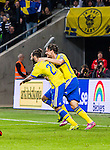 Solna 2014-10-12 Fotboll EM-kval , Sverige - Liechtenstein :  <br /> Sveriges Jimmy Durmaz jublar efter sitt 2-0 m&aring;l<br /> (Photo: Kenta J&ouml;nsson) Keywords:  Sweden Sverige Friends Arena EM Kval EM-kval UEFA Euro European 2016 Qualifying Group Grupp G Liechtenstein jubel gl&auml;dje lycka glad happy