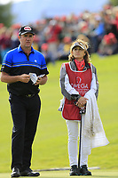Scott Hend (AUS) and wife Leanne on the 18th hole during Sunday's Final Round of the 2017 Omega European Masters held at Golf Club Crans-Sur-Sierre, Crans Montana, Switzerland. 10th September 2017.<br /> Picture: Eoin Clarke | Golffile<br /> <br /> <br /> All photos usage must carry mandatory copyright credit (&copy; Golffile | Eoin Clarke)