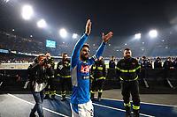 26th January 2020; Stadio San Paolo, Naples, Campania, Italy; Serie A Football, Napoli versus Juventus; Lorenzo Insigne celebrates their 2-1 win