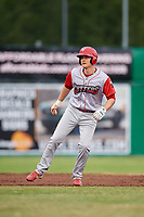 Williamsport Crosscutters left fielder Ben Pelletier (35) leads off second base during a game against the Batavia Muckdogs on June 22, 2018 at Dwyer Stadium in Batavia, New York.  Williamsport defeated Batavia 9-7.  (Mike Janes/Four Seam Images)
