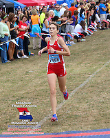 Cor Jesu senior Jill Whitman wins the varsity girls 5k in 18:36 at the 2013 Parkway West Cross Country Invitational, Saturday, October 5, at the Living Word Church grounds in Wildwood, Missouri.