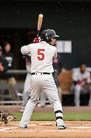 New Britain Rock Cats outfielder Daniel Ortiz (5) at bat during a game against the Harrisburg Senators on April 28, 2014 at Metro Bank Park in Harrisburg, Pennsylvania.  Harrisburg defeated New Britain 9-0.  (Mike Janes/Four Seam Images)