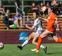 Newton, Massachusetts - October 22, 2017: NCAA Division I. University of Virginia (orange/white) defeated Boston College (white), 2-1, at Newton Campus Soccer Field.Goal.