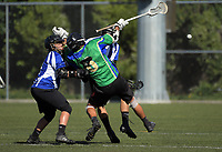 Action from the National Lacrosse Championships men's match between Auckland Senior (blue) and Waikato (green) at Wakefield Park in Wellington, New Zealand on Sunday, 18 March 2018. Photo: Dave Lintott / lintottphoto.co.nz