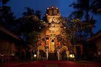 Puri Saren Ubud ( Ubud Palace ) at dusk in Bali, Indonesia.
