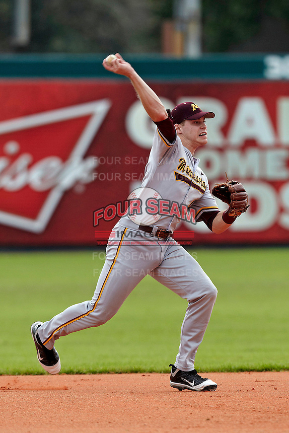 Minnesota Gophers third baseman Kyle Geason #4 during a game against the USF Bulls at the Big Ten/Big East Challenge at Al Lang Stadium on February 19, 2012 in St. Petersburg, Florida.  (Mike Janes/Four Seam Images)