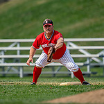 15 September 2019: Burlington Cardinal first baseman Tom Simon in action against the Waterbury Warthogs at Burlington High School in Burlington, Vermont. The Warthogs edged out the Cardinals 2-1 in post season play. Mandatory Credit: Ed Wolfstein Photo *** RAW (NEF) Image File Available ***