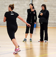 17.09.2013 Silver Ferns coaches Vicky Wilson and Wai Taumarama in action during the Silver Ferns training in Auckland. Mandatory Photo Credit ©Michael Bradley.