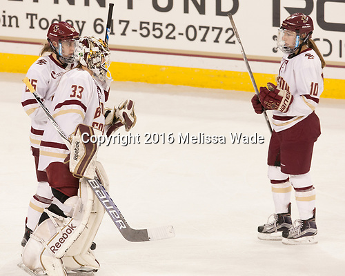 Caroline Ross (BC - 25), Katie Burt (BC - 33), Kali Flanagan (BC - 10) - The Boston College Eagles defeated the visiting University of Maine Black Bears 2-1 on Saturday, October 8, 2016, at Kelley Rink in Conte Forum in Chestnut Hill, Massachusetts.  The University of North Dakota Fighting Hawks celebrate their 2016 D1 national championship win on Saturday, April 9, 2016, at Amalie Arena in Tampa, Florida.