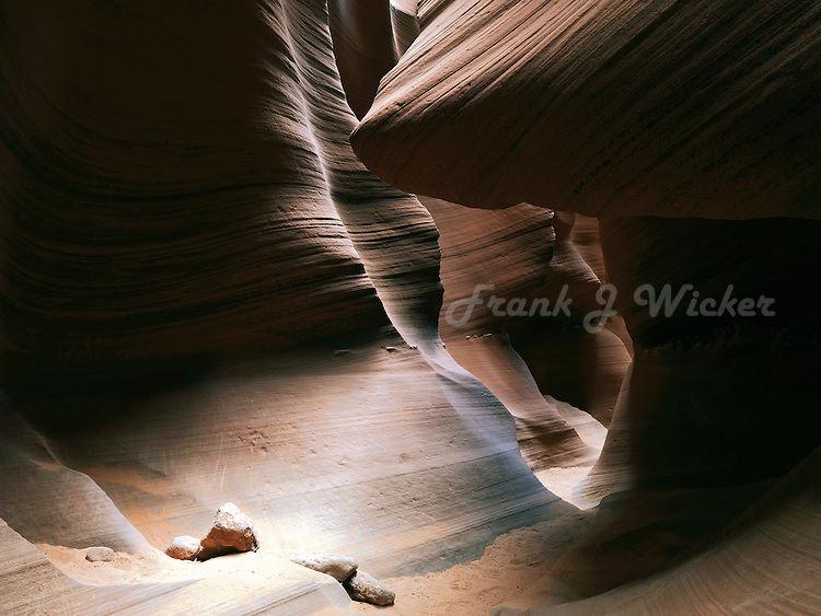 Multiple hoodoos and eroded sandstone formations in the Antelope Slot Canyon near Lake Powell and Page Arizona