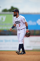 Binghamton Rumble Ponies second baseman Luis Guillorme (3) during a game against the Hartford Yard Goats on July 9, 2017 at NYSEG Stadium in Binghamton, New York.  Hartford defeated Binghamton 7-3.  (Mike Janes/Four Seam Images)