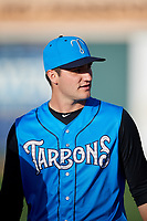 Tampa Tarpons pitcher Nick Green (12) before a game against the Lakeland Flying Tigers on April 6, 2018 at Publix Field at Joker Marchant Stadium in Lakeland, Florida.  Lakeland defeated Tampa 6-5.  (Mike Janes/Four Seam Images)