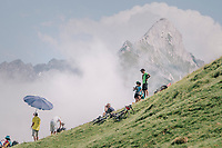 cycling fans up the last climb of the 2018 Tour: the Col d'Aubisque (HC/1709m/16.6km@4.9%), waiting for the riders to pass<br /> <br /> Stage 19: Lourdes > Laruns (200km)<br /> <br /> 105th Tour de France 2018<br /> ©kramon