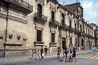 People in front of the Government Palace or Palacio de Gobieno in Guadalajara, Mexico