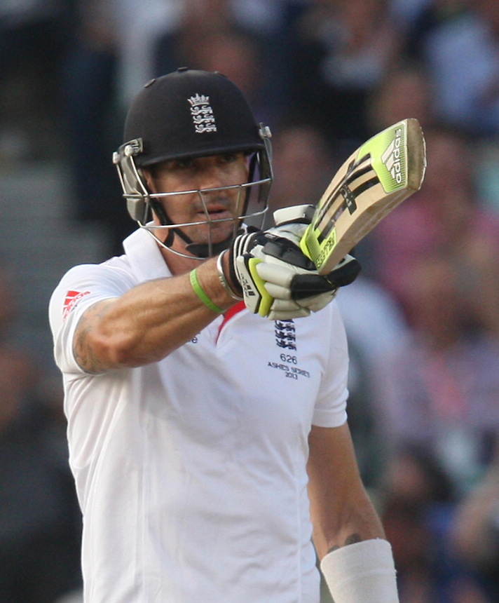 England's Kevin Pietersen gets his half century<br /> <br /> Photo by Kieran Galvin / CameraSport<br /> <br /> International Cricket - Fifth Investec Ashes Test Match - England v Australia - Day 5 - Thursday 25th August 2013 - The Kia Oval - London<br /> <br /> &copy; CameraSport - 43 Linden Ave. Countesthorpe. Leicester. England. LE8 5PG - Tel: +44 (0) 116 277 4147 - admin@camerasport.com - www.camerasport.com
