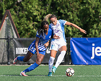 Boston, MA - Saturday August 19, 2017: Ifeoma Onumonu, Monica Hickmann Alves during a regular season National Women's Soccer League (NWSL) match between the Boston Breakers (blue) and the Orlando Pride (white/light blue) at Jordan Field. Orlando Pride defeated Boston Breakers, 2-1.