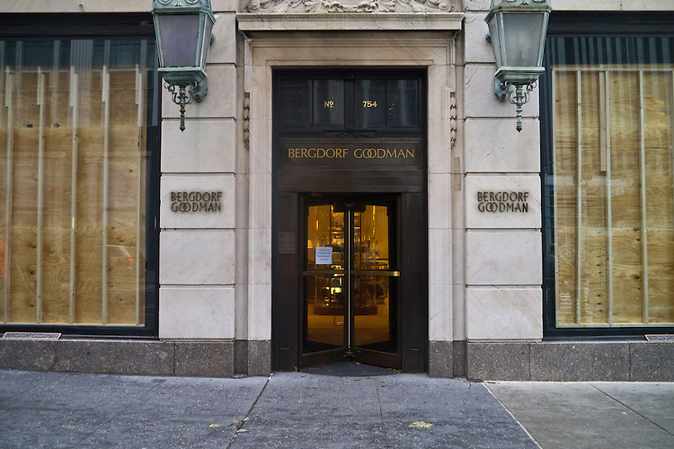 NEW YORK - OCTOBER 30:  2012 Store front of Bergdorf Goodman in Manhattan one day after Hurricane Sandy October 30, 2012 in New York City. (Photo by Donald Bowers )