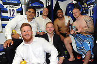 Rory Jennings, Ben Tapuai, Jack Wilson, Will Homer, Cooper Vuna and Tom Homer of Bath Rugby pose for a photo after the match. Aviva Premiership match, between Bath Rugby and London Irish on May 5, 2018 at the Recreation Ground in Bath, England. Photo by: Patrick Khachfe / Onside Images