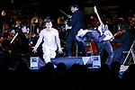 (L to R) Dancer Koichi Omae and singer-songwriter Miyavi perform during the 1000 Days to Go! cultural event in front of Tokyo Station on November 26, 2017, Tokyo, Japan. Japanese celebrities attended the event marking the 1000-day countdown to the 2020 Tokyo Olympics. (Photo by Rodrigo Reyes Marin/AFLO)