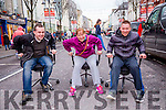 l-r  Paddy Kevane, Helen Locke and Darragh O'Callaghan test out the race chairs at the Office Chair Racing event <br />  in aid of St Vincent De Paul in the Mall Tralee on Saturday
