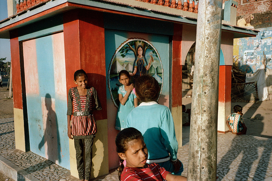 Children play at a small temple located close to the shrine of Hazrat Sayyad Ali Mira Datar