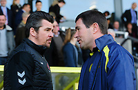 Fleetwood Town manager Joey Barton, left, and Burton Albion manager Nigel Clough<br /> <br /> Photographer Chris Vaughan/CameraSport<br /> <br /> The EFL Sky Bet League One - Saturday 23rd February 2019 - Burton Albion v Fleetwood Town - Pirelli Stadium - Burton upon Trent<br /> <br /> World Copyright © 2019 CameraSport. All rights reserved. 43 Linden Ave. Countesthorpe. Leicester. England. LE8 5PG - Tel: +44 (0) 116 277 4147 - admin@camerasport.com - www.camerasport.com