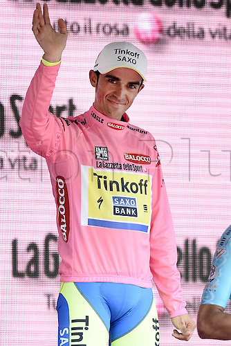 31.05.2015. Giro D'Italia Cycing tour Turin to Milan, stage 21, final stage.  Tinkoff - Saxo 2015, Contador Alberto with the tour winners trophy on the podium in Milan