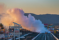 Feb 23, 2019; Chandler, AZ, USA; NHRA jet dragster car driver Scott Arriaga fills the starting line with smoke during qualifying for the Arizona Nationals at Wild Horse Pass Motorsports Park. Mandatory Credit: Mark J. Rebilas-USA TODAY Sports
