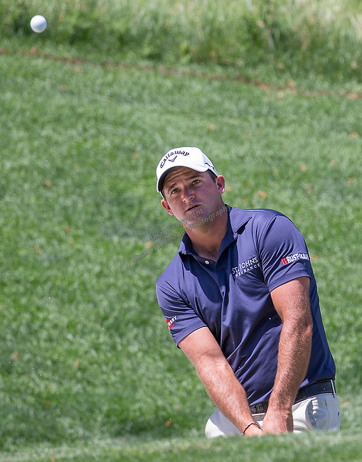 Sam Saunders chips onto the 2nd green during the Barracuda Championship PGA golf tournament at Montrêux Golf and Country Club in Reno, Nevada on Saturday, July 27, 2019.