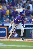 Giovanni DiGiacomo (7) of the LSU Tigers starts down the first base line against the Baylor Bears in game five of the 2020 Shriners Hospitals for Children College Classic at Minute Maid Park on February 28, 2020 in Houston, Texas. The Bears defeated the Tigers 6-4. (Brian Westerholt/Four Seam Images)
