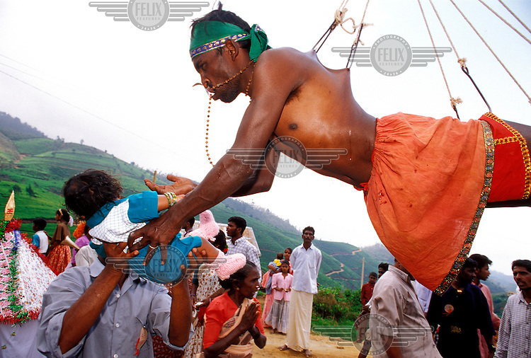 Hindu Tamil tea plantation workers take part in the annual Thaipusam religious festival in this central highlands area of Sri Lanka.  The ritual involves degrees of piercing of the skin, the devotees in a trance rarely shed any blood or remember feeling any pain afterwards.