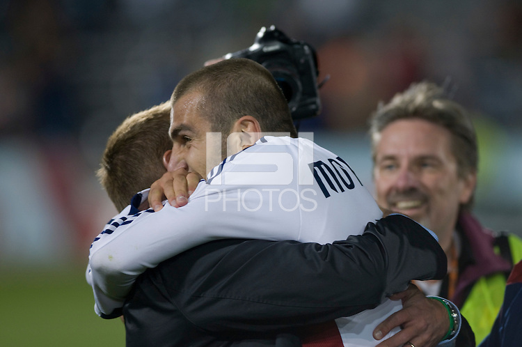 Real Salt Lake forward Yura Movsisyan celebrates with head coach Jason Kreis. Real Salt Lake earned a tied versus the Colorado Rapids securing a place in the postseason. Dick's Sporting Goods Park, Denver, Colorado, October, 25, 2008. Photo by Trent Davol/isiphotos.com