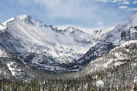 """ROCKY MOUNTAIN HIGH"" - Fourteen inches of fresh snow fell overnight on this crisp spring day in Rocky Mountain National. The view is looking up Glacier Gorge towards Longs Peak (the tallest summit in the park) and the Keyboard of the Winds."