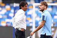 Simone Inzaghi coach of SS Lazio and Ciro Immobile of SS Lazio<br /> prior to the Serie A football match between SSC  Napoli and SS Lazio at stadio San Paolo in Naples ( Italy ), August 01st, 2020. Play resumes behind closed doors following the outbreak of the coronavirus disease. <br /> Photo Cesare Purini / Insidefoto