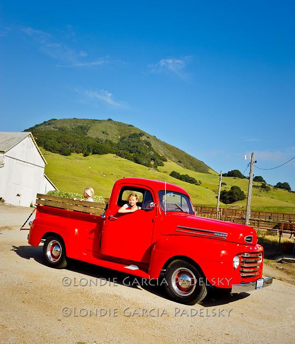 Girls in the 1949 Red Ford Truck, San Luis Obispo, California