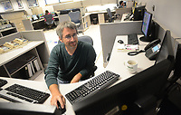 Patrick O'Hara, a meteorologist, of the National Weather Service Mount Holly Station works on his weather report  about the weather Tuesday August 23, 2016 in Mt. Holly, New Jersey. (Photo by William Thomas Cain)