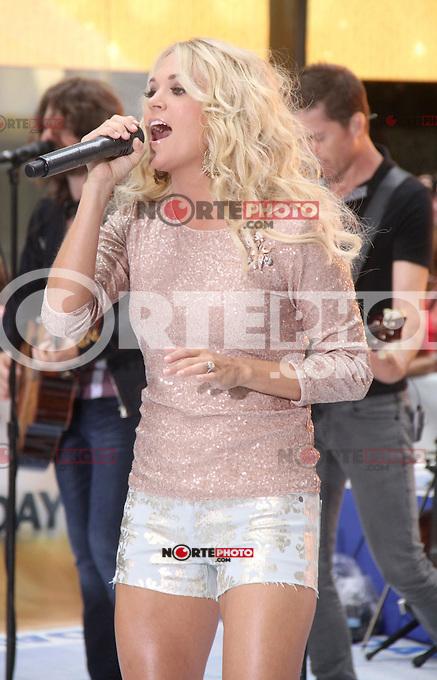 August 15, 2012 Carrie Underwood performs on NBC's Today Show Toyota Concert Series at Rockefeller Center in New York City. &copy; RW/MediaPunch Inc. /NortePhoto.com<br /> <br />  **CREDITO*OBLIGATORIO** *No*Venta*A*Terceros*<br /> *No*Sale*So*third* ***No*Se*Permite*Hacer Archivo***No*Sale*So*third*