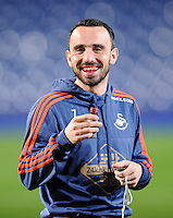 One of the liquid supplements gives Leon Britton of Swansea City the look of a vampire before the Barclays Premier League match between West Bromwich Albion and Swansea City at The Hawthorns on the 2nd of February 2016