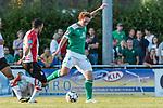 04.09.2018, Hoheellern-Stadion, Leer, GER, FSP, Werder Bremen (GER) vs FC Emmen (NED)<br /> <br /> DFL REGULATIONS PROHIBIT ANY USE OF PHOTOGRAPHS AS IMAGE SEQUENCES AND/OR QUASI-VIDEO.<br /> <br /> im Bild / picture shows<br /> Joshua Sargent (Werder Bremen #19) mit Torschuss, <br /> <br /> Foto © nordphoto / Ewert
