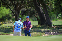 Sam Ryder (USA) switches clubs before hitting from the trap on 8 during Round 1 of the Valero Texas Open, AT&amp;T Oaks Course, TPC San Antonio, San Antonio, Texas, USA. 4/19/2018.<br /> Picture: Golffile | Ken Murray<br /> <br /> <br /> All photo usage must carry mandatory copyright credit (&copy; Golffile | Ken Murray)