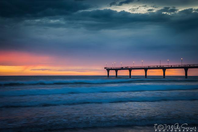 Sunrise at New Brighton Pier, New Brighton, South Island, New Zealand