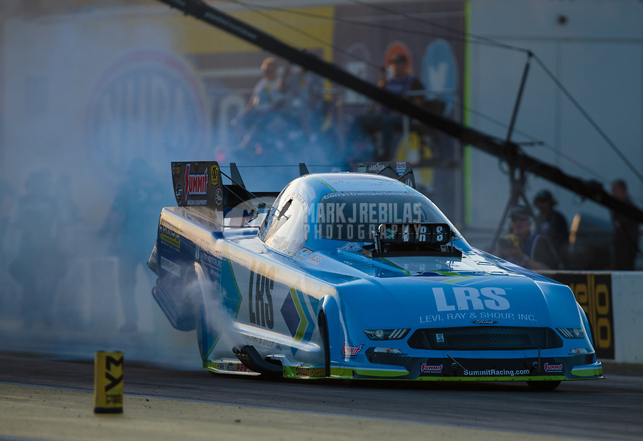 Mar 15, 2019; Gainesville, FL, USA; NHRA funny car driver Tim Wilkerson during qualifying for the Gatornationals at Gainesville Raceway. Mandatory Credit: Mark J. Rebilas-USA TODAY Sports