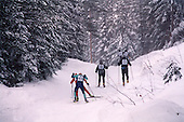 Skiers competing in the Noquemanon Ski Marathon, a  Cross Country Ski Race in Marquette County Michigan.