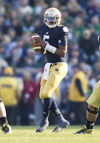 November 17, 2012:  Notre Dame quarterback Everett Golson (5) drops back to pass the ball during NCAA Football game action between the Notre Dame Fighting Irish and the Wake Forest Demon Deacons at Notre Dame Stadium in South Bend, Indiana.  Notre Dame defeated Wake Forest 38-0.