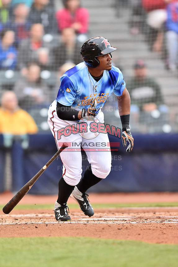 Richmond Flying Squirrels right fielder Carlos Moncrief (1) swings at a pitch during a game against the Hartford Yard Goats at The Diamond on April 30, 2016 in Richmond, Virginia. The Yard Goats defeated the Flying Squirrels 5-1. (Tony Farlow/Four Seam Images)