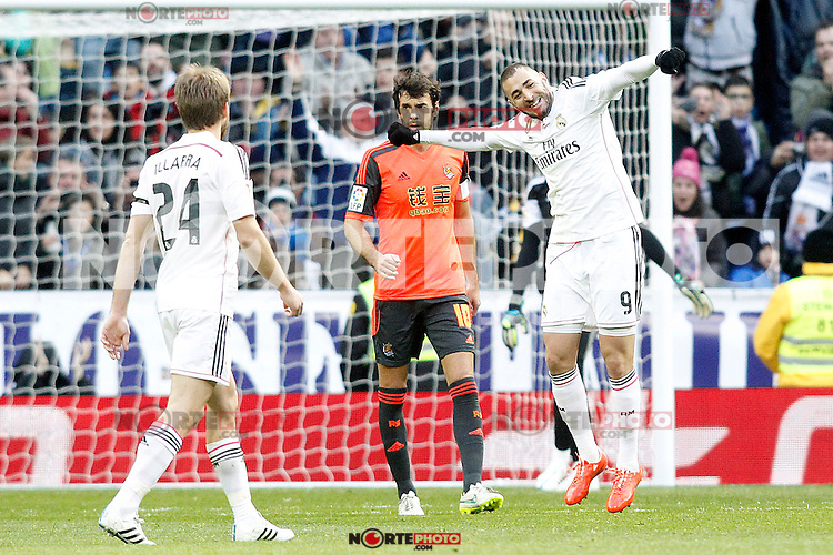 Real Madrid's Karim Benzema celebrates goal during La Liga match.January 31,2015. (ALTERPHOTOS/Acero) /NortePhoto<br />