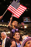 8/27/08 5:59:42 PM -- Denver, CO, U.S.A. -- Democratic National Convention -- ..Leah Emanuel, 8, of Chicago, sits on Zach Emanuel's shoulders during Wednesday's DNC. .Photo by Pat Shannahan, Gannett.