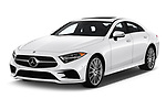 2019 Mercedes Benz CLS-Coupe CLS450 4 Door Sedan angular front stock photos of front three quarter view